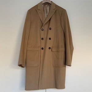 Brooks Brothers Double Breasted Tan Wool Peacoat